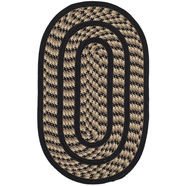 Safavieh Hand-woven Reversible Braided Beige/ Black Rug (2'6 x 4' Oval)
