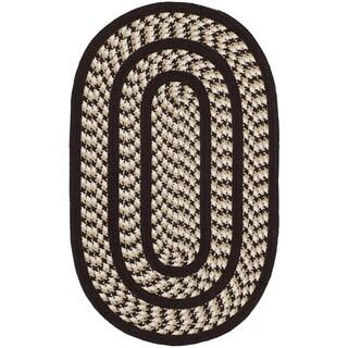 Safavieh Hand-woven Reversible Braided Ivory/ Dark Brown Rug (2'6 x 4' Oval)