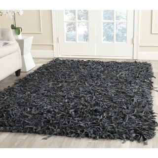 Safavieh Handmade Leather Shag Grey Leather Rug (8' Square)