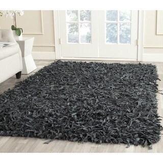 Safavieh Handmade Leather Shag Grey Leather Rug (8' Square)
