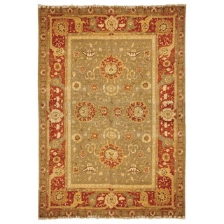 Safavieh Hand-knotted Peshawar Vegetable Dye Sage/ Burgundy Wool Rug (9' x 12')