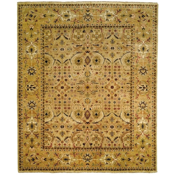 Hand Tufted Agra Red Gold Wool Rug 8 Round: Safavieh Hand-knotted Farahan Sarouk Ivory/ Gold Wool Rug