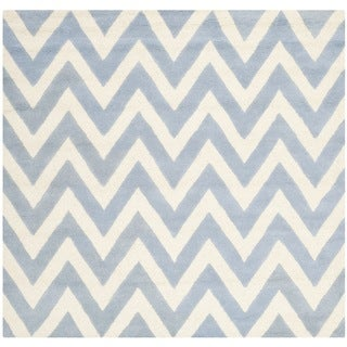 Safavieh Handmade Moroccan Cambridge Light Blue/ Ivory Wool Rug (10' Square)