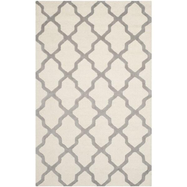 Safavieh Handmade Moroccan Cambridge Ivory/ Silver Wool Rug (9' x 12')