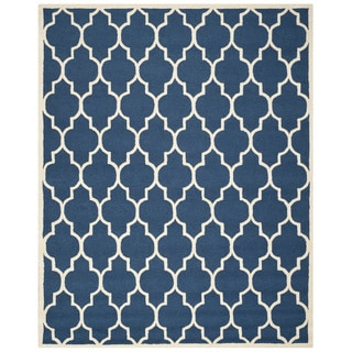 Safavieh Handmade Moroccan Cambridge Navy/ Ivory Wool Rug (7'6 x 9'6)