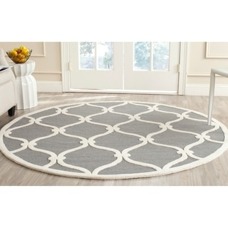 Safavieh Handmade Moroccan Cambridge Dark Grey/ Ivory Wool Rug (8' Round)