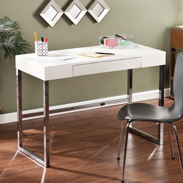 harper blvd contemporary vivica cream reptile textured desk 16088584