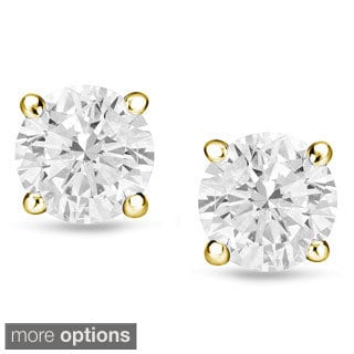 Auriya 14k Gold 1/2ct TDW Reversible Diamond Stud Pearl Earrings (E-F, I1)