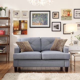 Inspire Q Cameron Blue Linen Tufted Sloped Arm Loveseat