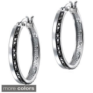 DB Designs 1/4ct TDW Black, Blue or White Diamond Hoop Earrings (I-J, I2-I3)