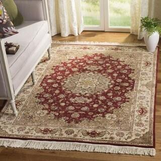 Safavieh Hand-knotted Tabriz Floral Red/ Beige Wool/ Silk Rug (9' x 12')