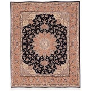 Safavieh Hand-knotted Tabriz Floral Black Wool/ Silk Rug (9' x 12')