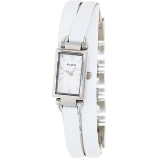 Fossil Women's JR1442 'Delaney' Stainless Steel Triple White Leather Band Watch