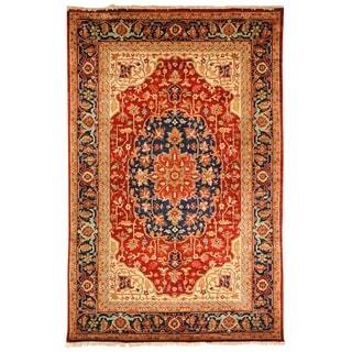 Safavieh Hand-knotted Samarkand Rust/ Navy Wool Rug (6' x 9')