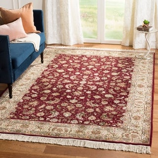Safavieh Hand-knotted Tabriz Floral Burgundy/ Yellow Wool/ Silk Rug (6' x 9')