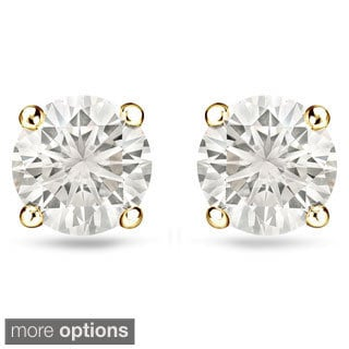 Auriya 14k Gold 1/2ct TDW Reversible Diamond Stud Pearl Earrings (H-I, VS1-VS2)