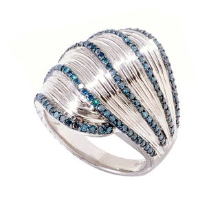 Sterling Silver 3/4ct TDW Blue Diamond Wide Ring (I2-I3)
