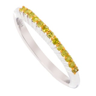 Sterling Silver 1/6ct TDW Yellow Diamond Stackable Ring