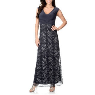 Patra Women's Charcoal Knit Bodice Soutache Gown