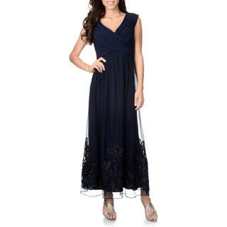 Patra Women's Navy Soutache Hem Gown