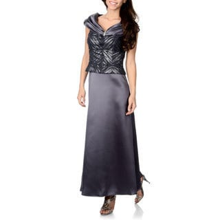 Patra Women's Charcoal Grey Portrait Neckline Gown