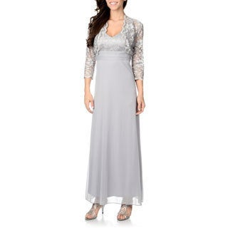 Patra Women's Silver Lace Bolero Jacketed Dress Set