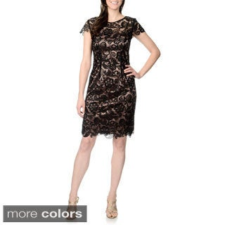 Patra Women's Allover Lace Cap-sleeve Dress
