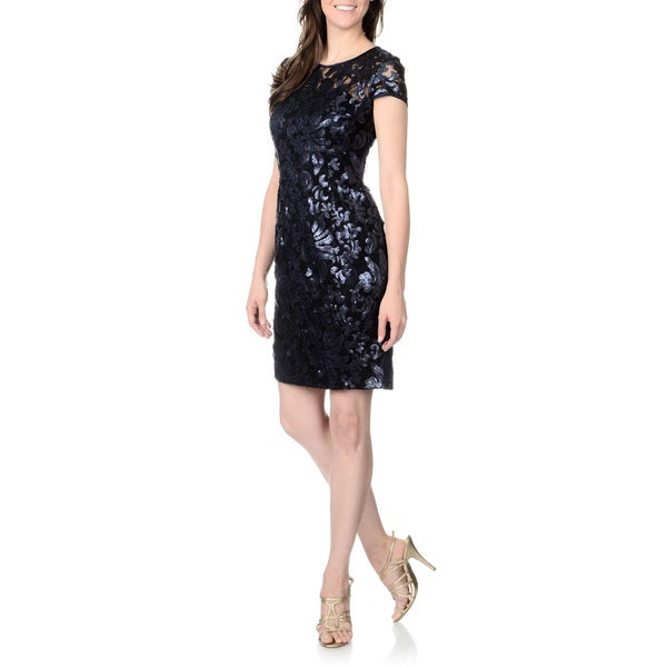 Patra Women's Navy and Black Sequined Lace Cap-sleeve Dress