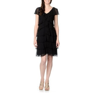 Patra Women's Black Multi-tiered Dress