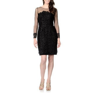 Patra Women's Black Lace Sheer-sleeve Dress