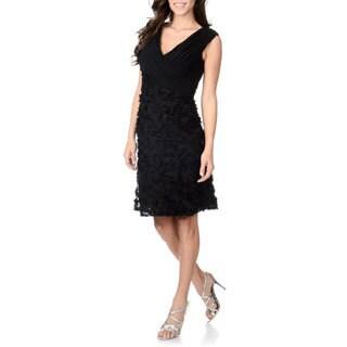 Patra Women's Black Soutache Textured Party Dress