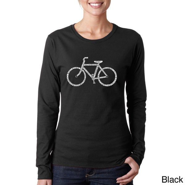 Los Angeles Pop Art Women's 'Save a Planet Ride a Bike' Long Sleeve T-shirt