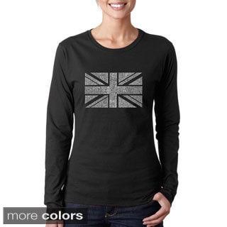 Los Angeles Pop Art Women's 'Union Jack' Long Sleeve T-shirt