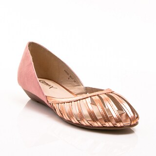 Gomax Women's 'Page Boy 18' Blush D'Orsay Cut-out Metallic Low Wedges