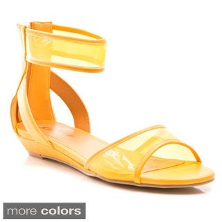 Gomax Women's 'Page Boy 19' Lucite Ankle Strap Wedge Sandals