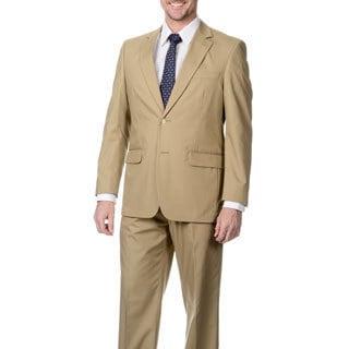 Henry Grethel Men's Big & Tall Khaki 2-button Suit