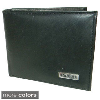 Top Bull Cowhide Leather Bi-fold Double ID Window Wallet