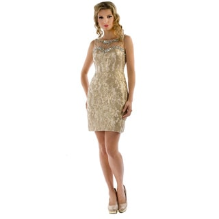 Daniella Couture Women's Gold Metallic Lace and Sequins Mini Dress