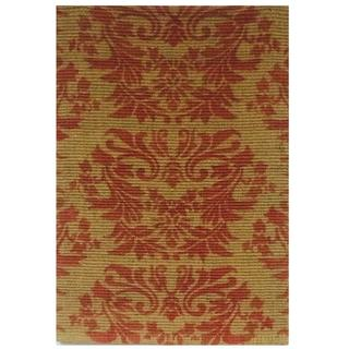 Handmade Boucle Floral Red Jute Rug (4'x6')