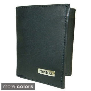Top Bull Cowhide Leather Tri-fold Double-ID Window Wallet