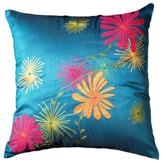 Plumeria 18-inch Aqua Blue Decorative Throw Pillow (Set of 2)