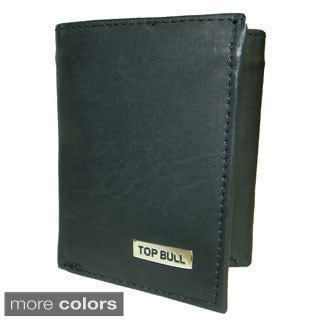 Top Bull Cowhide Leather Ti-fold Center ID Window Wallet