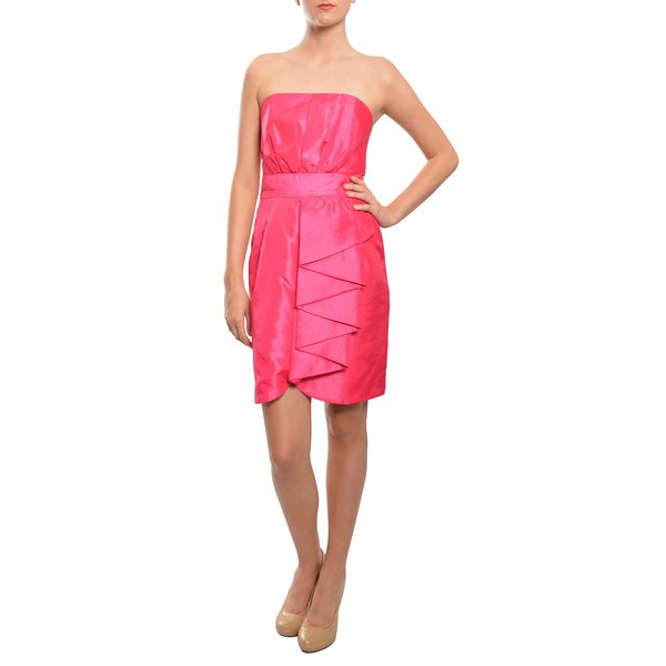 5/48 Women's Vibrant Fuchsia Crinkled Satin Strapless Dress