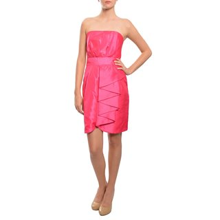 5/48 Women's Vibrant Fuchsia Crinkled Satin Strapless Dress