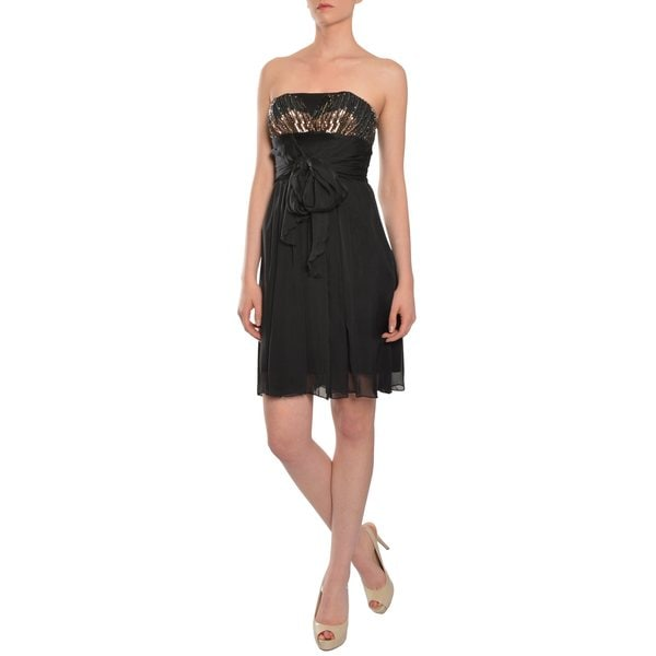 A.B.S. by Allen Schwartz Women's Black Silk Ruffled and Sequined Party Dress