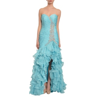 Mac Duggal Women's Sky Blue Cascading Tiered Ruffle Gown