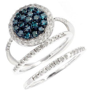 Sterling Silver 1ct TDW Blue and White Diamond Pave 3-piece Ring Set