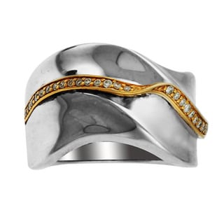 Sonia Bitton 14k Yellow Gold and Sterling Silver Two-tone Diamond Anniversary Band (H-I, SI1-SI2)