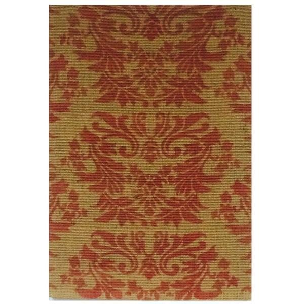 Handmade Boucle Red Printed Jute Rug (8'x11')