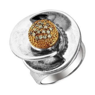 Sonia Bitton 14k Gold/ Silver Designer Two-Tone Diamond Flower Ring (H-I, SI1-SI2)